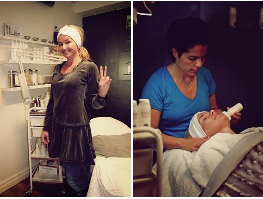 Petra från House of Philia får Uniks sköna Nannic NBE 500 hudvårdsbehandling av hudvårdsterapeut Vanessa på Salong Unik