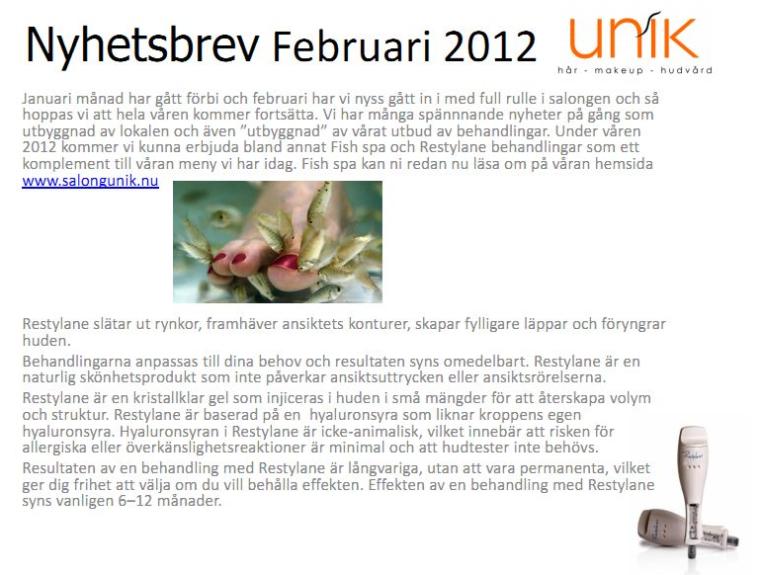 Salong Unik nyhetsbrev februari 2011